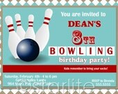 Bowling Birthday Party Invitation - Retro Bowling - any age - Printable Design or Printed Option