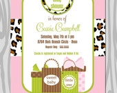 Girl Baby Shower Invitation   Pink Green Animal Print Baby Shower Invitation   Baby Sprinkle Invite   Personalized Printable or Printed