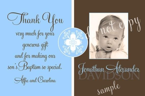 Baptism Photo Thank You Card Boy Boy Baptism Thank You Card