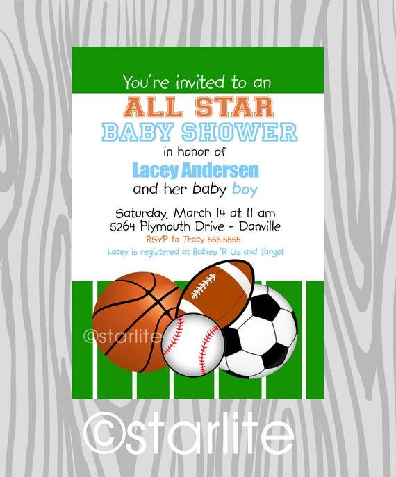 Baby Boy All Star Baby Shower Invitation, Baby Boy Shower Invitation, Sports Baby Shower, Basketball Baseball Football, Soccer Invitation