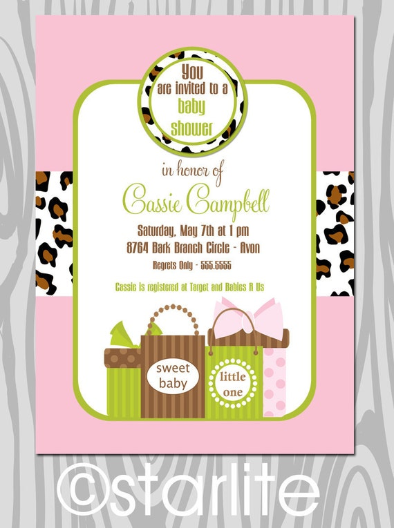 Girl Baby Shower Invitation | Pink Green Animal Print Baby Shower Invitation | Baby Sprinkle Invite | Personalized Printable or Printed