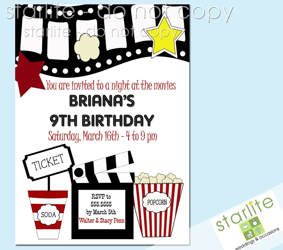 Hollywood Themed Invites as best invitation sample