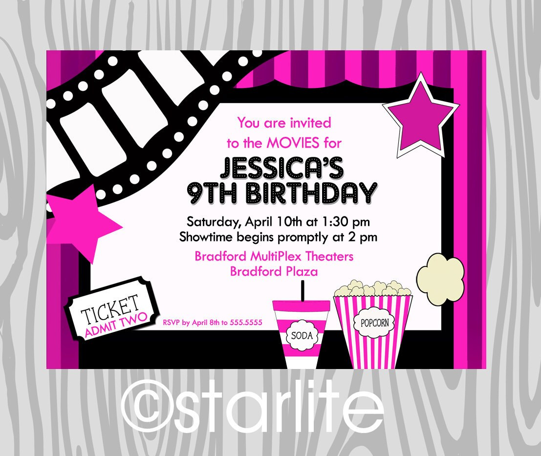 Movies Movie Theater Birthday Party Invitation Girl by ...