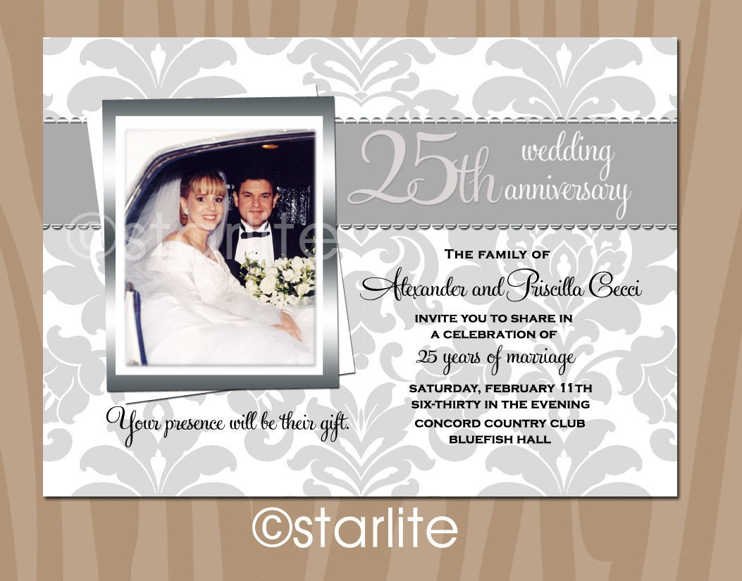 silver wedding anniversary invitation cards | Wedding