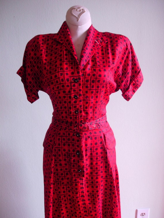 1940s 1950s Red with Black Dots Day Dress