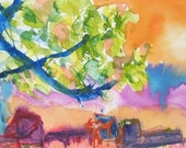 Art Painting Watercolor Abstract Tropical Beach Chaise Lounge Print