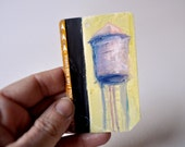 ART Original Oil Painting NYC Water Tower on Upcycled Subway  Card