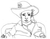 Art  Pen and Ink Drawing PRINT Toddler in Cowboy Hat