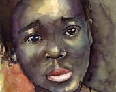 Art Painting Watercolor Black Jamaican Girl Portrait