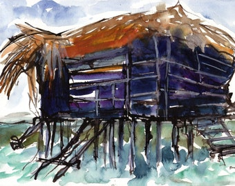 Art Painting Watercolor Shabby Rustic Tropical Bar on Stilts Caribbean Sea Jamaica Print