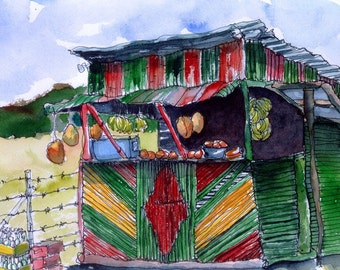 Art Painting Watercolor Rural Country Shabby Jamaican Rasta Snack Shop  PRINT