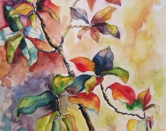 Art Painting Watercolor Abstract Tropical Floral Leaves Landscape Garden Caribbean Print