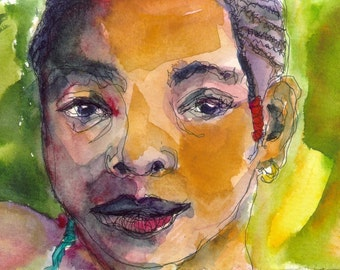 Art Painting Watercolor Black Girl Jamaican Portrait  Cornrows  PRINT