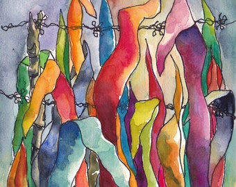 Art Watercolor Painting Tropical  Landscape Leaves Barbed Wire Fence  PRINT