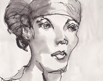 Art Pen and Ink Drawing of Woman in Turban Scarf Print