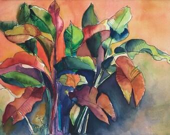 Art Painting Watercolor Tropical Banana Leaves Garden Caribbean  Print