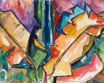 Art Painting Watercolor Abstract Tropical Banana Leaves Landscape Print