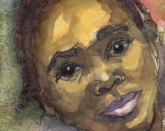 Art Painting Watercolor Black Jamaican Girl Cornrows Portrait Print
