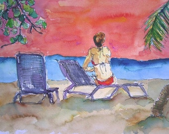 Art Painting Watercolor Tropical Beach Woman Bathing Suit Caribbean Print