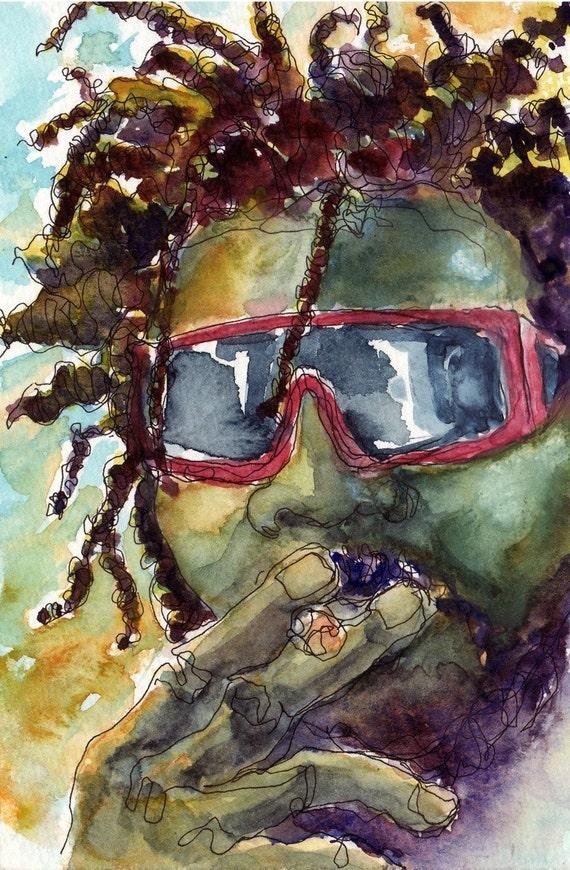 Art Painting Watercolor Dreadlock Rastafarian Man Smoking Marijuana PRINT