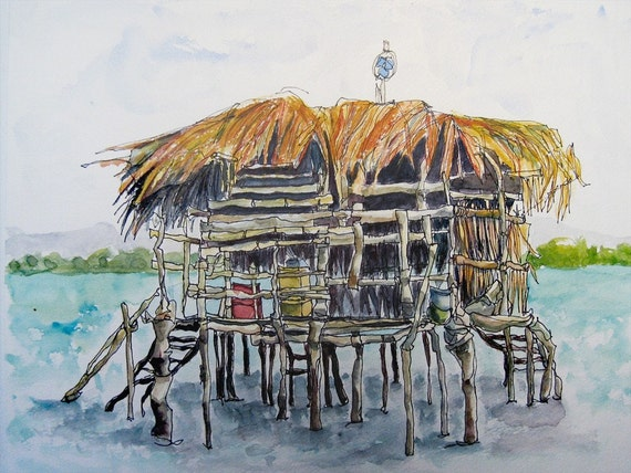 Art Painting Watercolor  Landscape Shabby Rustic Tropical Bar Caribbean Sea Jamaica PRINT