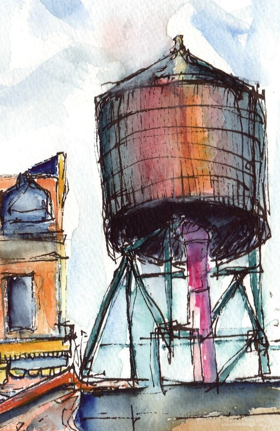 Art ORIGINAL PAINTING - Ink and watercolor of NYC Water Tower