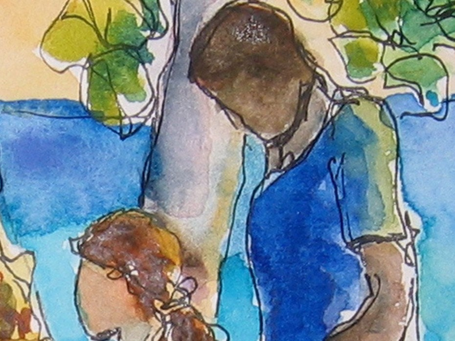 Art Watercolor Painting Children Playing Tropical Jamaican