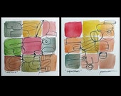 PEARSON Melons Squashes SET OF 2 original watercolor ink art drawings 5x5 FREE SHIPPING