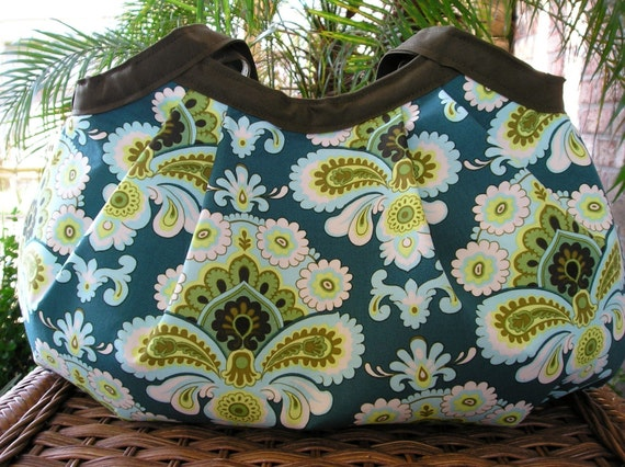 LAST ONE Pleated Bag - French Wallpaper Spruce lg (4 pockets)