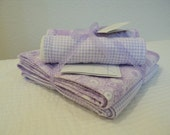 Lavender and White Floral and Gingham Blanket and Burp Cloth Set