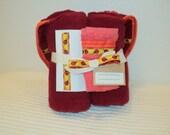 Yellow Ladybug Print on Red Hooded Towel and Washcloth with Embellishments