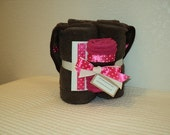Pink With White Dot on Chocolate Brown Hooded Towel and Washcloth with Embellishments