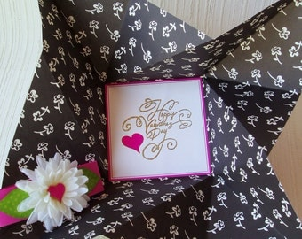 Valentine's Day Card, folded pinwheel style, black on white with pink accents