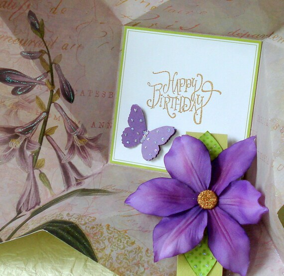 Folded Pinwheel BIRTHDAY Card in purple and green