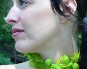 Chartreuse Textile Necklace Hand Dyed Silk Organza with Bubbles