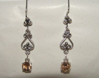 Champagne TOPAZ & Antiqued Sterling Dangle Earrings