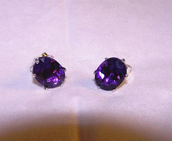 Deep Purple AMETHYST Oval Stud Earrings in Sterling Silver