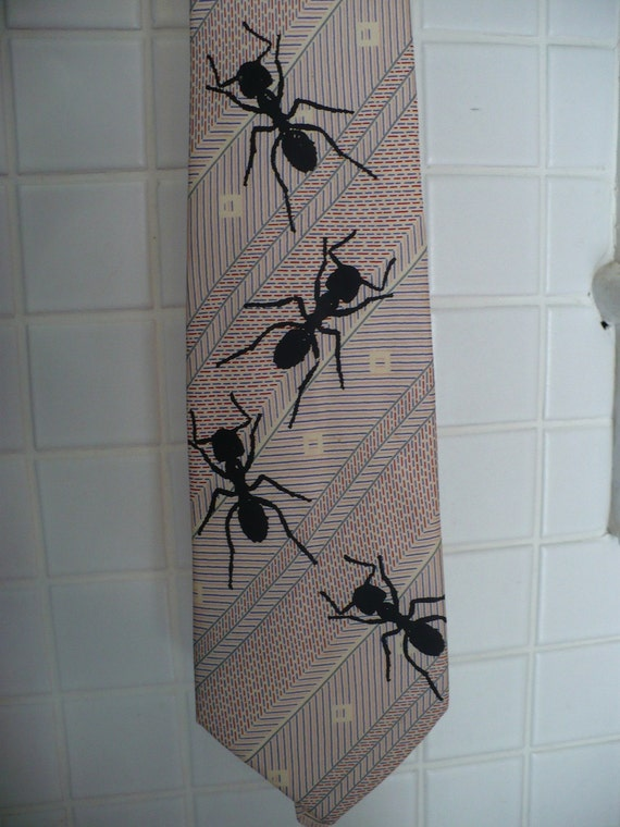 Upcycled Marching Ants Necktie Squiggles and Squares