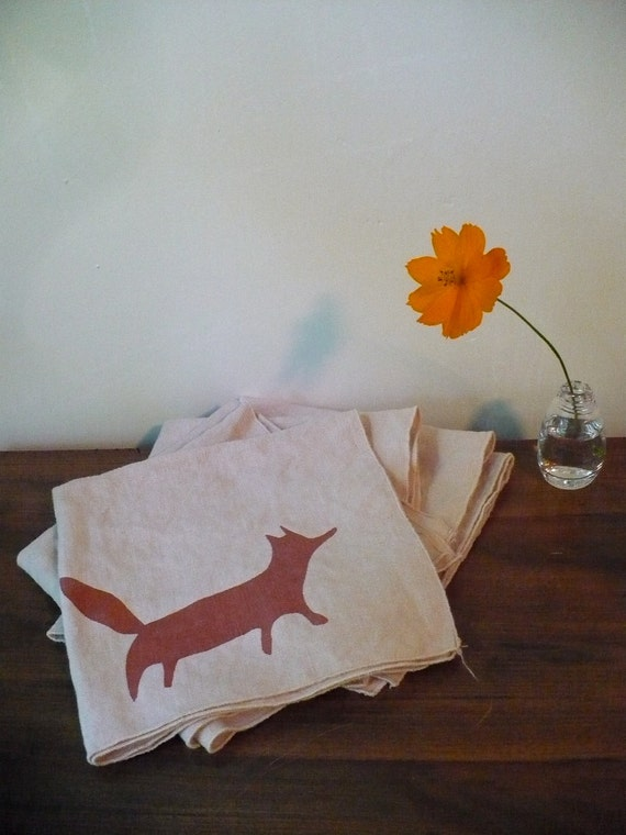 Sassy Fox Tea Stained Linen Napkins set of 4