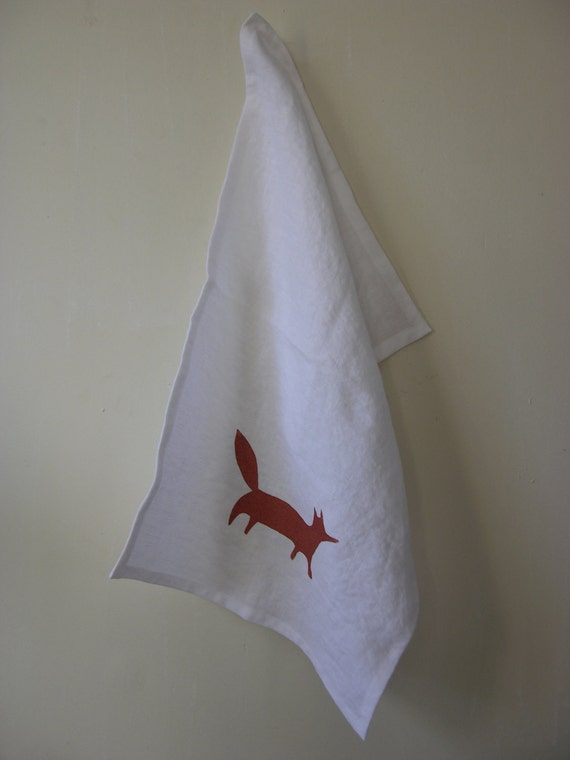 Crisp White Linen Tea Towel Copper Fox Screen Print