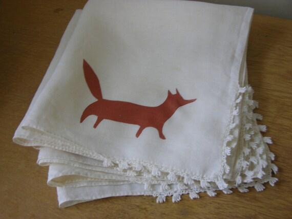 6 Copper Fox Dinner Napkins screen print on vintage linens