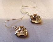 Valentine Heart Locket silver earrings with floral design