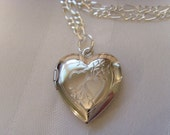 Valentine Heart Locket Necklace functional with floral design
