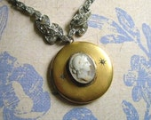 Antique Cameo Locket With Rhinestones and Mother of Pearl Beads