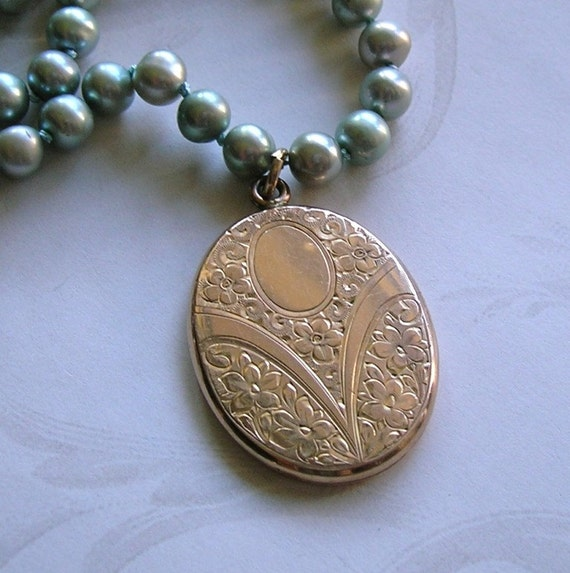 Beautiful Etched Antique Locket With Handknotted Light Blue Pearls