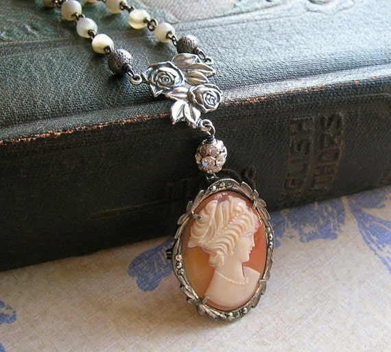 Antique Sterling Shell Cameo Necklace and Vintage MOP Rosary Beads