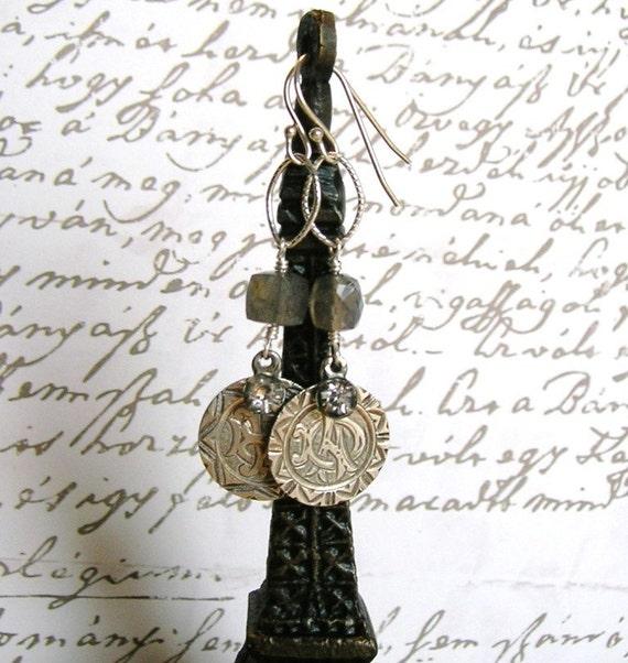 Victorian Love Token Earrings With Labradorite