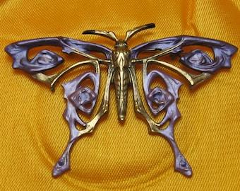 Butterfly Brooch Art Nouveau butterflys brooch vintage bronze with violet enamels French vintage