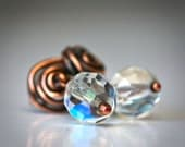 Copper Wire Wrapped Rosettes and AB Crystal Dangle Rustic Stud Earrings