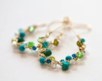 Bejeweled Teardrops - Gold Filled Earrings in Turquoise